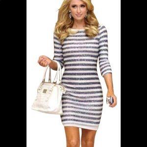 Alice + Olivia Pammy Striped Sequined Dress size 6